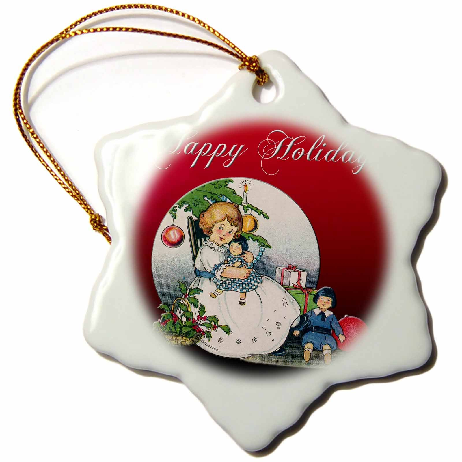 3dRose Cute Little Girl Holding a Doll Next to a Christmas Tree with Presents Snowflake Ornament,