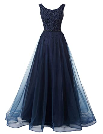 DarlingU Womens Beaded Prom Dresses Long A-line Party Evening Gowns Formal Navy Blue 2
