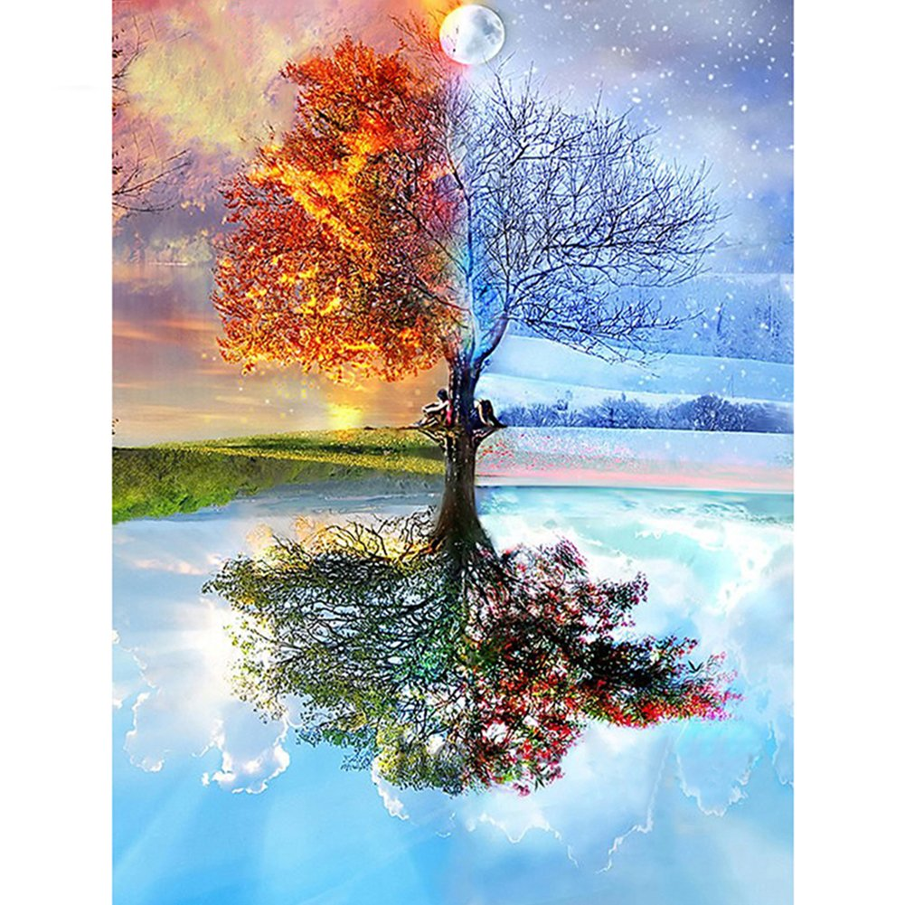 5D Tree Diamond Painting, Full DIY Magic Seasons Tree Cross Stitch Diamond Embroidery Patterns Wall Stickers (3040cm) Onner