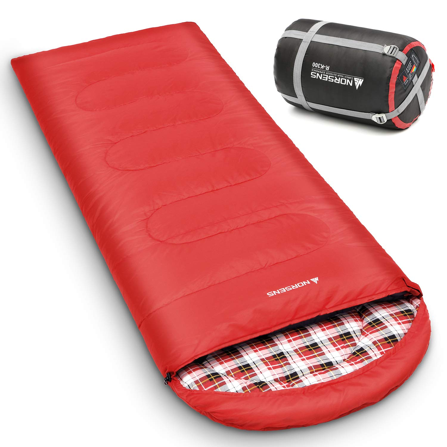 NORSENS 0 Degree Celsius Cold Weather Sleeping Bag for Camping, Backpacking, Hiking. Large Outdoor Compact Sleeping Bags with Compression Sack for Adults. 90.5 x 32.6 inch (6.red with 5.5lbs Filling) by NORSENS