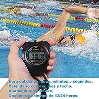Rybron Cronógrafo Digital Cronómetro de Mano LCD Deportes Multifuncional Cronómetro Negro