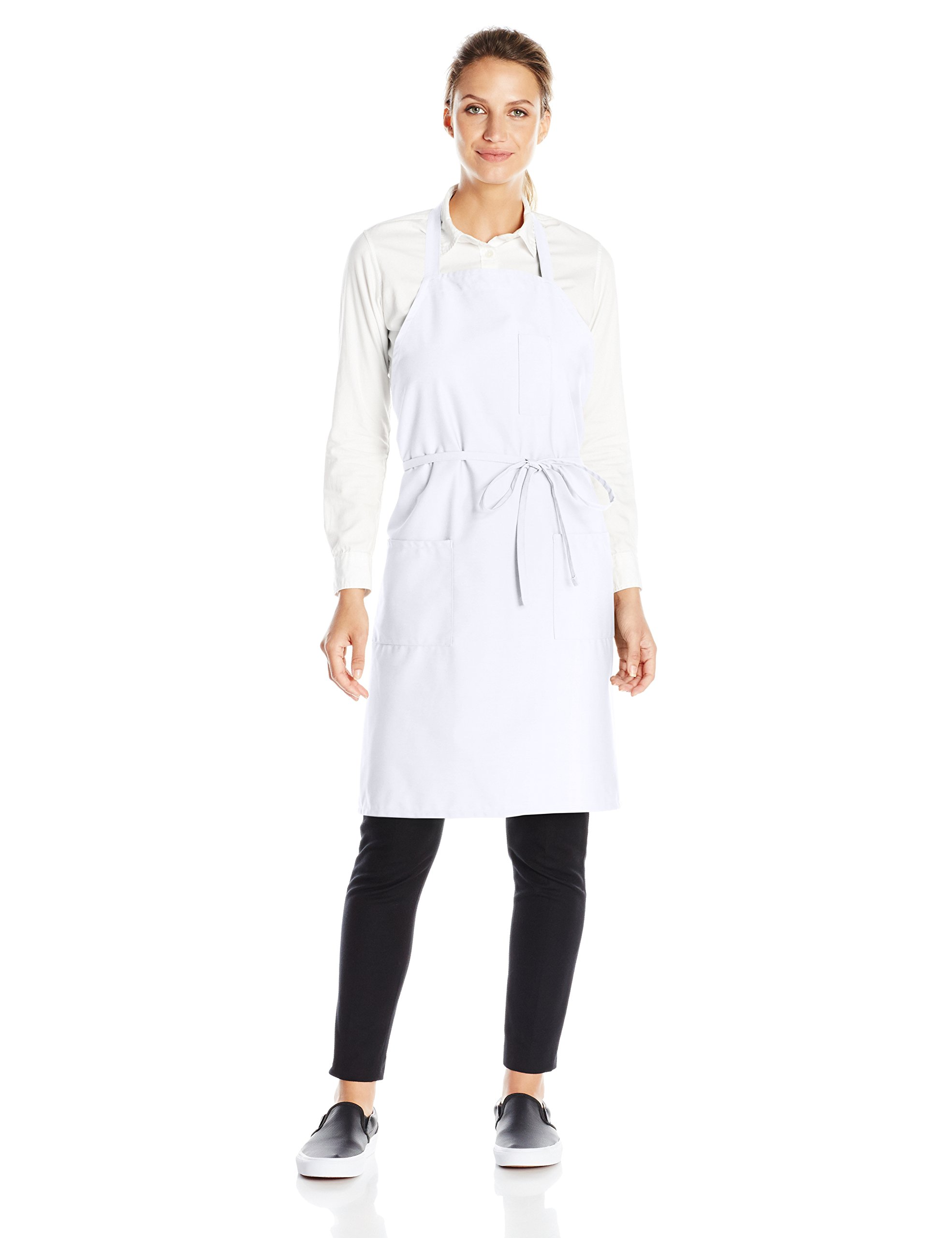 Uncommon Threads Unisex Bib Apron 3 Pockets, White, One Size