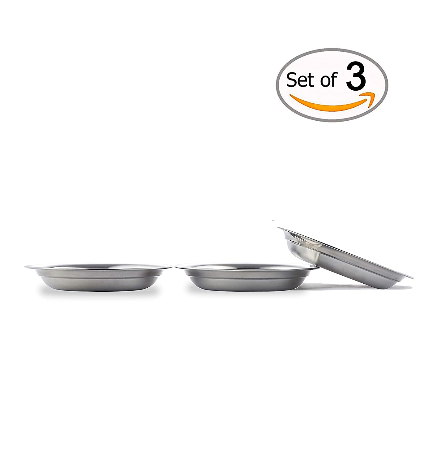9.4 Inch Global Wansheng 9.4 Inch 3-Pack of Pets Dish, Cat Food Bowls for Relief of Whisker Fatigue, Stainless Steel Cat Food Dish, Dog Food Dish WS2-PCA1-1P4