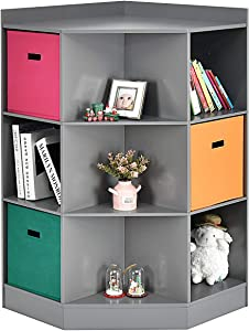 Costzon 9-Cubby Kids Bookcase with Extra Large Storage Baskets, Multi-Bin Children's Organizer Shelf with 6 Cubes and 3 Shelves, Wooden Storage Sideboard Suitable for Playroom, Decor Room (Grey)