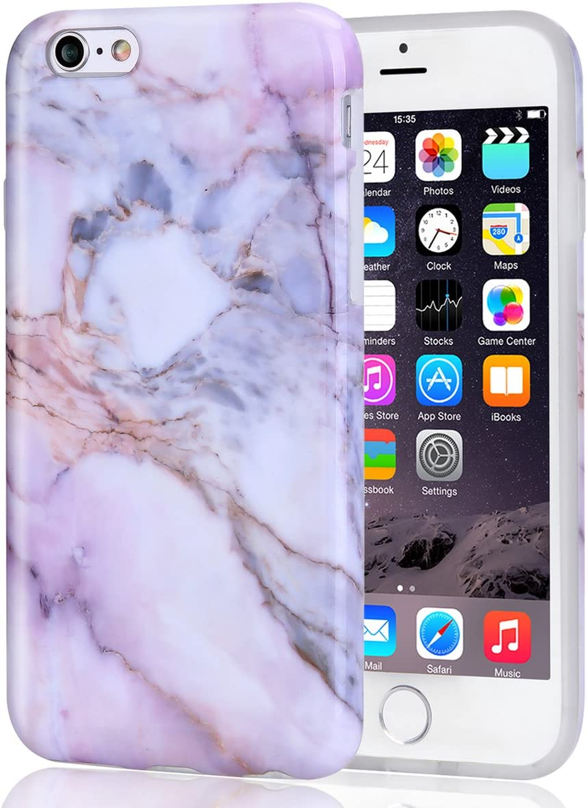 iPhone 6 6S Case Pink Marble for Girls, DAKMEEA Women Best Protective Cute Clear Slim Shockproof Glossy TPU Soft Rubber Silicone Cover Phone Case for Apple iPhone 6 / iPhone 6s 4.7