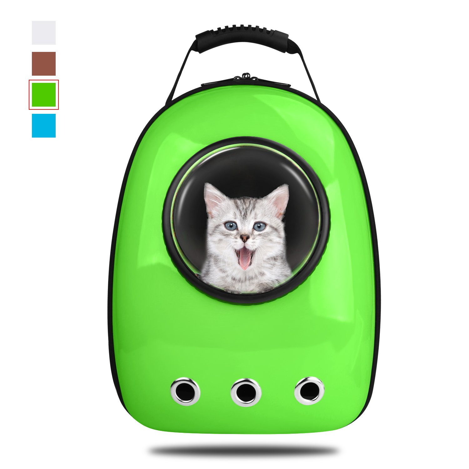 Green Anzone Cat Space Capsule Carrier Backpack, Pet Bubble Window Tote Bag Portable Lightweight Travel Handbag for Cats Petite Dogs & Small Animals-Green,30L