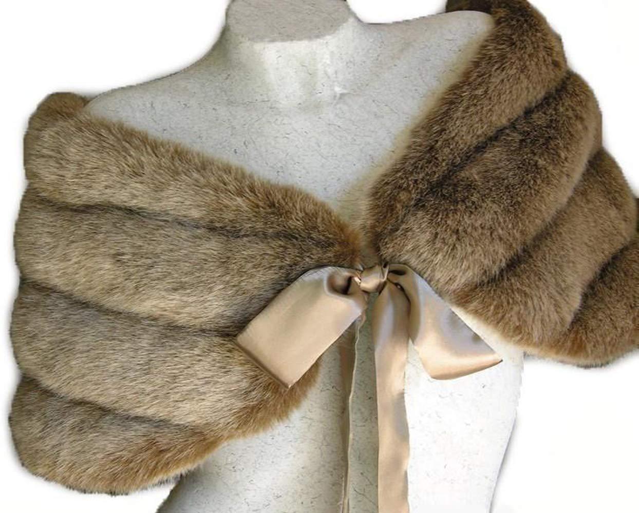 Fox Light Brown/Champagne Faux Mink Fur Bidal Wrap Shawl Capelet (Large-44'')