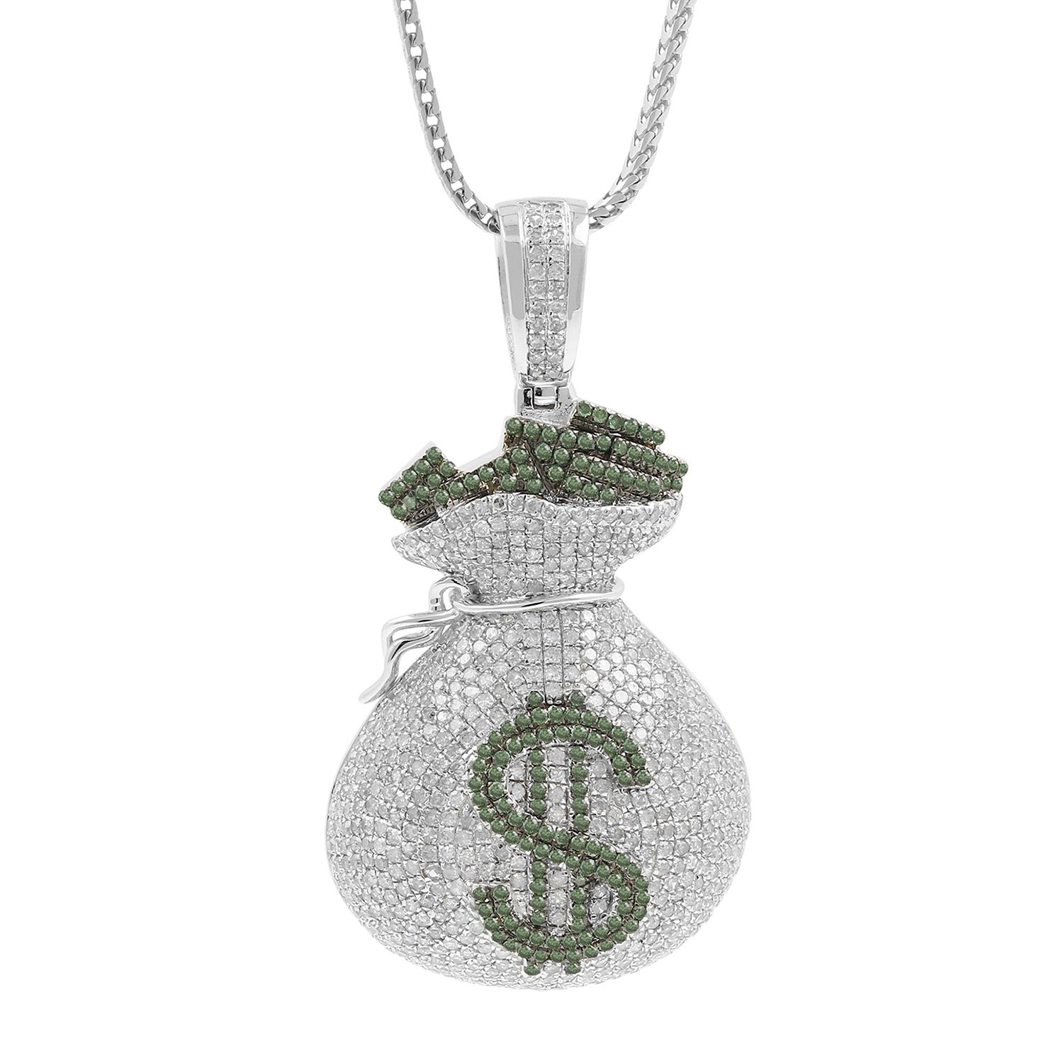 4.19ct Diamond Dollar Sign Money Bag Mens Hip Hop Pendant Necklace in 925 Silver