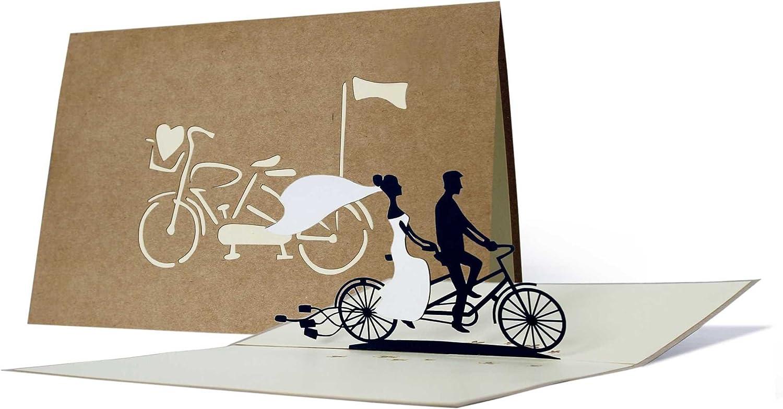 Karte f/ür Verliebte Einladungskarte hochwertig Hochzeitstandem elegant edel L17 Karte zur Hochzeit Sch/öne Hochzeitskarte aus Kraftpapier Just married