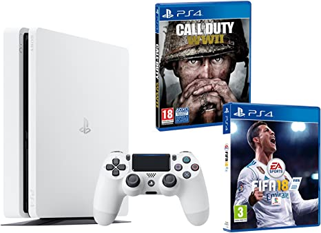 PS4 Slim 500Gb Blanca Playstation 4 Consola - Pack 2 Juegos ...