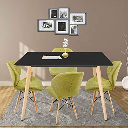 DL furniture - Modern Square Kitchen Dining Table with 4 Wooden Legs | Black