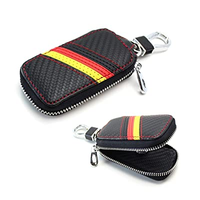 iJDMTOY (1 Germany Flag Stripe Carbon Fiber Pattern Leather Key Holder Cover Wallet Compatible with Audi BMW Mercedes Porsche Volkswagen, etc: Automotive