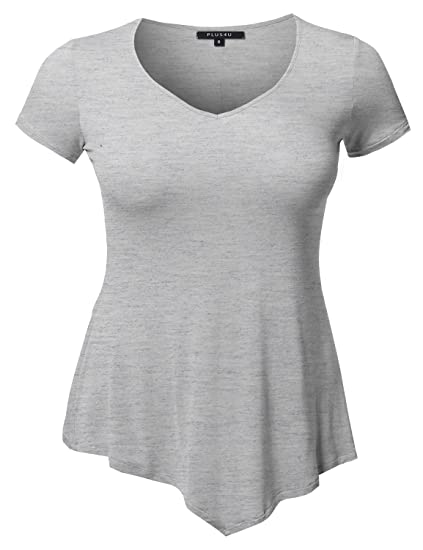 7437775112c Plus4u Solid Super Soft Stretch Cap Sleeves Asymmetrical Top Tee Shirt  Heather Grey 1X
