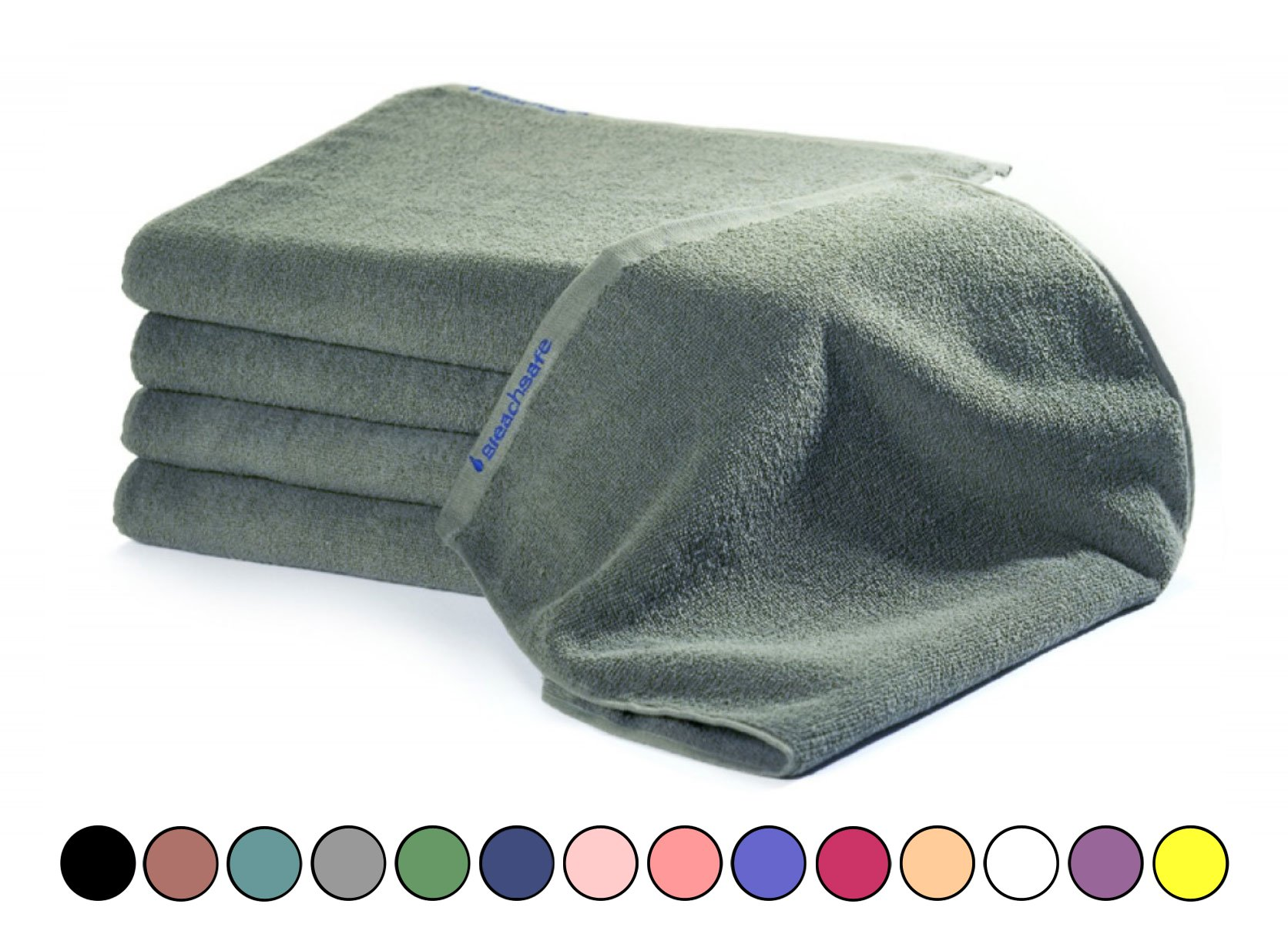 BLEACHSAFE Soft Cotton Towel Set: 15 In x 26 In Thick, Absorbent Bleachproof Towels for Salon, Gym, Spa or Restaurant - Pack of 24, Mosstone