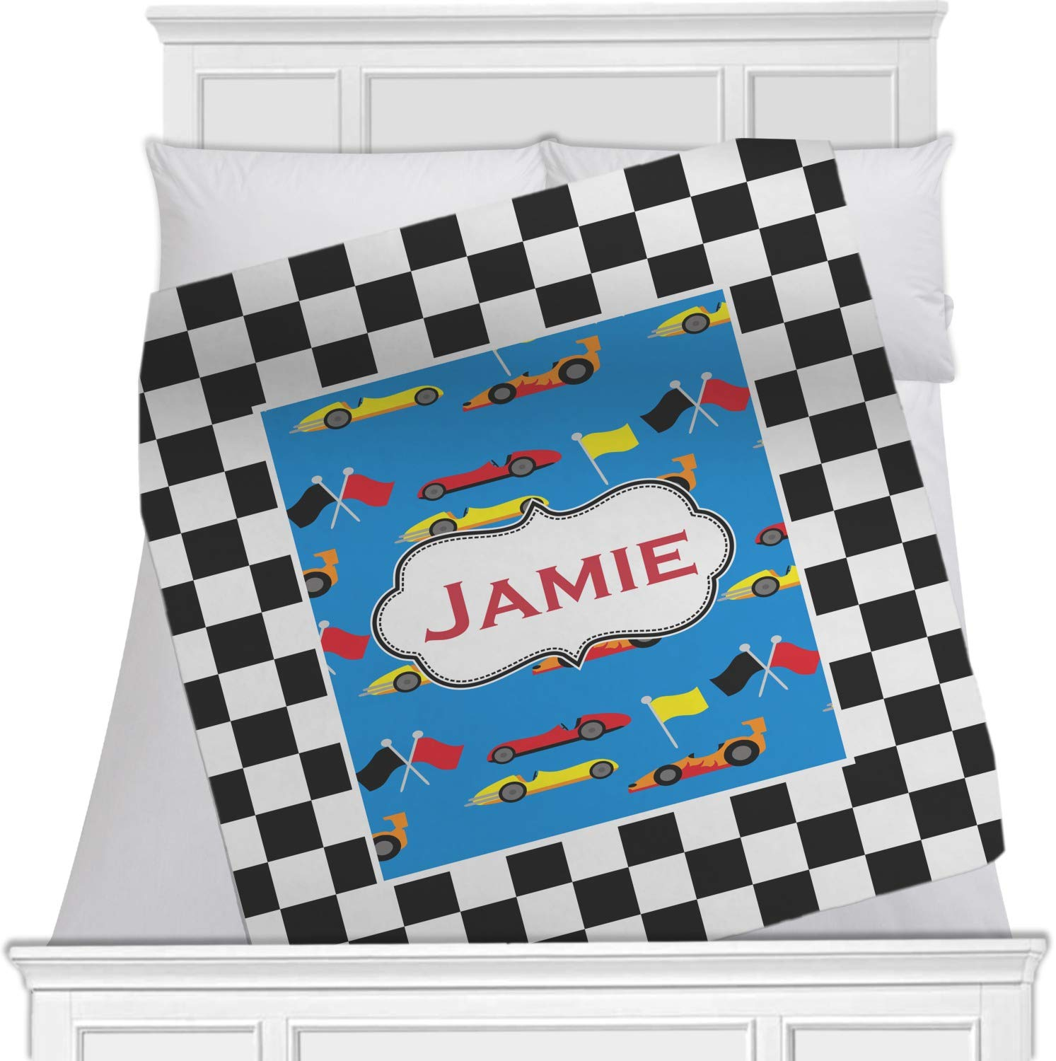 Checkers & racecars Blanket ( Personalized ) Approx. 40
