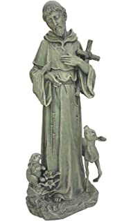 St. Francis With Cross And Animals Stone Indoor/Outdoor Garden Statue