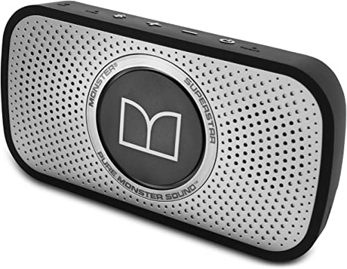 Monster Power Superstar High Definition Bluetooth Speaker Black Grey -Ultra compact, Water-resistant