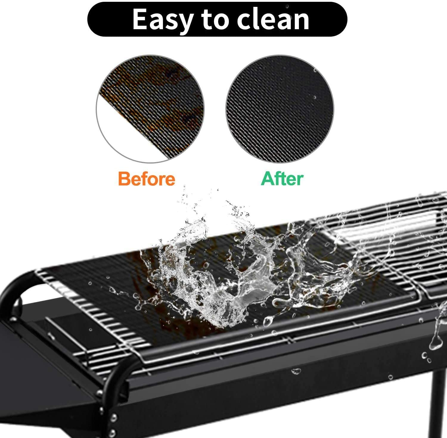 Gas or Electric Grill Indoor Outdoor 3 Packs Fxexblin BBQ Grill Mat Heat Resistant and Easy to Clean FDA-Certificated 50x40CM Large Size Non Stick Reusable and Baking Mesh for Charcoal