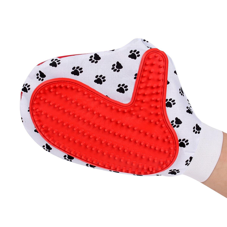 2-TECH Tierhaarentferner Handschuh Fellpflegehandschuh Massagehandschuh Pfotendesign