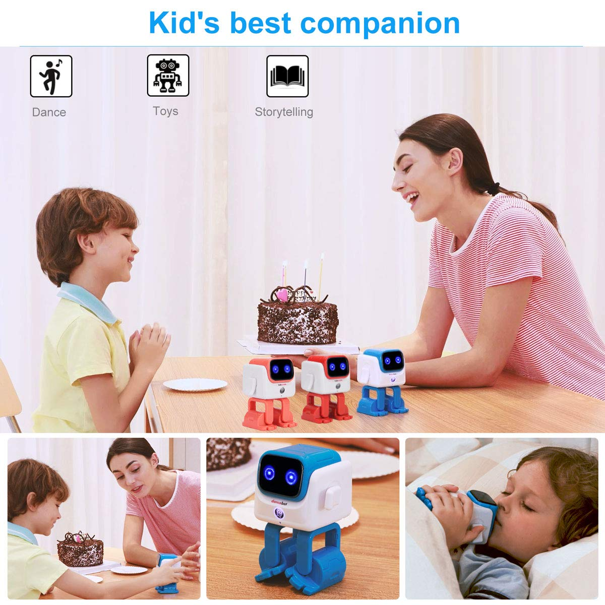 ECHEERS Dance Robot Toys for Kids, Boys and Girls, Educational Music Dancing Robot Kids Toys, Rechargeable Music Robot Speaker Follow Beats Rhythm, 3 Years+ Coral by ECHEERS (Image #7)