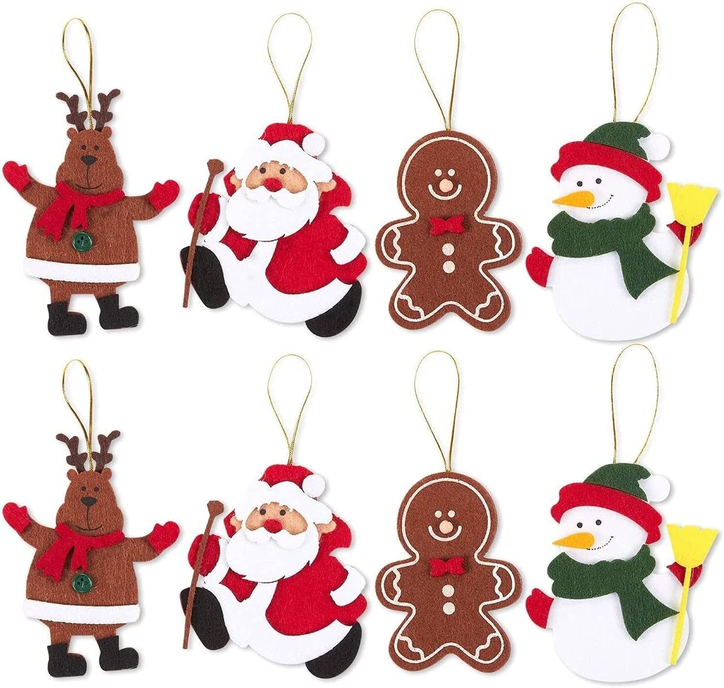 Felt Christmas Ornaments, Reindeer, Santa Claus, Gingerbread Man, Snowman (8 Pack)