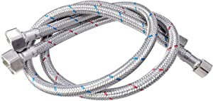 24-Inch Faucet Supply Line Connector Braided 304 Stainless Steel Supply Hose 3/8-Inch Compression 2 Pieces (1 Pair)