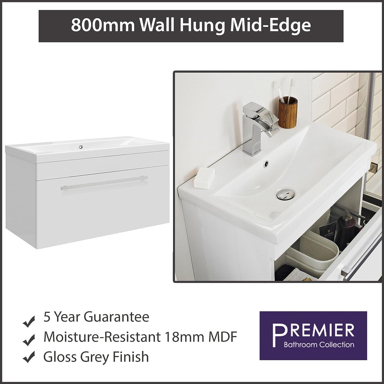 1 Tap Hole Premier Bathroom Corner Vanity Unit with Basin 550mm Wide