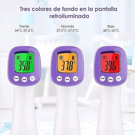 Termómetro Infrarrojos sin Contacto, Termómetro Infrarrojos con Pantalla Digital Termómetro para Niños, Adultos y Ambiente