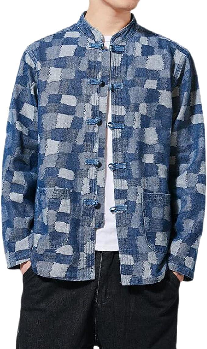 メンズデニムシャツコットンロングスリーブボタンダウントップ、中国の伝統的リネンコットンカンフージャケット、メンズパーソナライズされた唐スーツジャケット、ファッションレトロデニム格子縞トップ