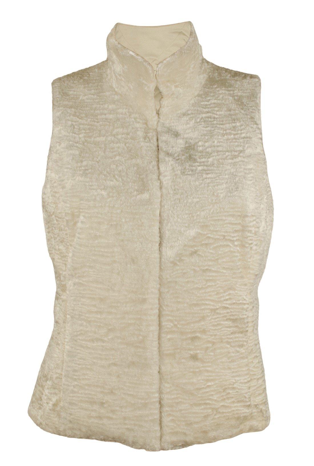 RALPH LAUREN Women's Petite Size Faux-Fur Reversible Vest-MC-PM