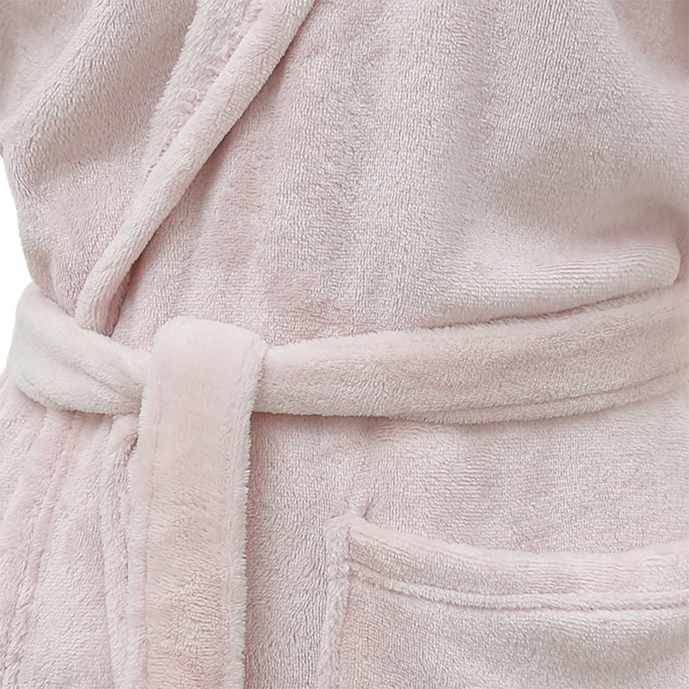M elegantstunning Womens Pajamas Flannel Sleepwear Hooded Long-Sleeved Lace-Up Pocket Robe Light Pink
