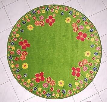 Kinderteppich blumenwiese  Kinderteppich Blumenwiese grün Velours ca. 130 cm rund 2. Wahl ...