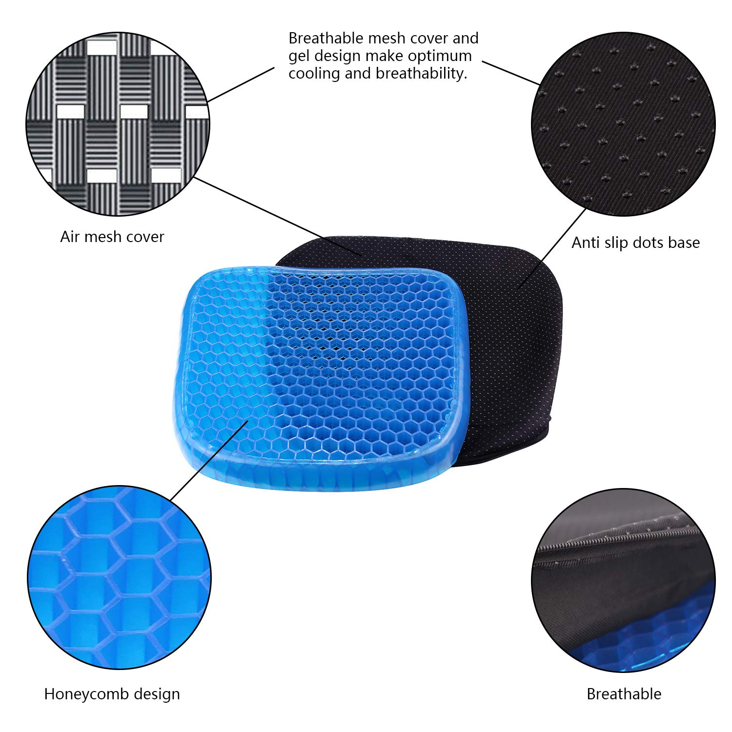 Premewish Gel Seat Cushion Breathable Pain Relief Seat Cushion with Non-Slip Cover Advanced Elastic Cool Gel Seat Cushion Honeycomb Designed Soft Gel Pad for Office Chair Wheelchair (S/37X34.5X3CM)