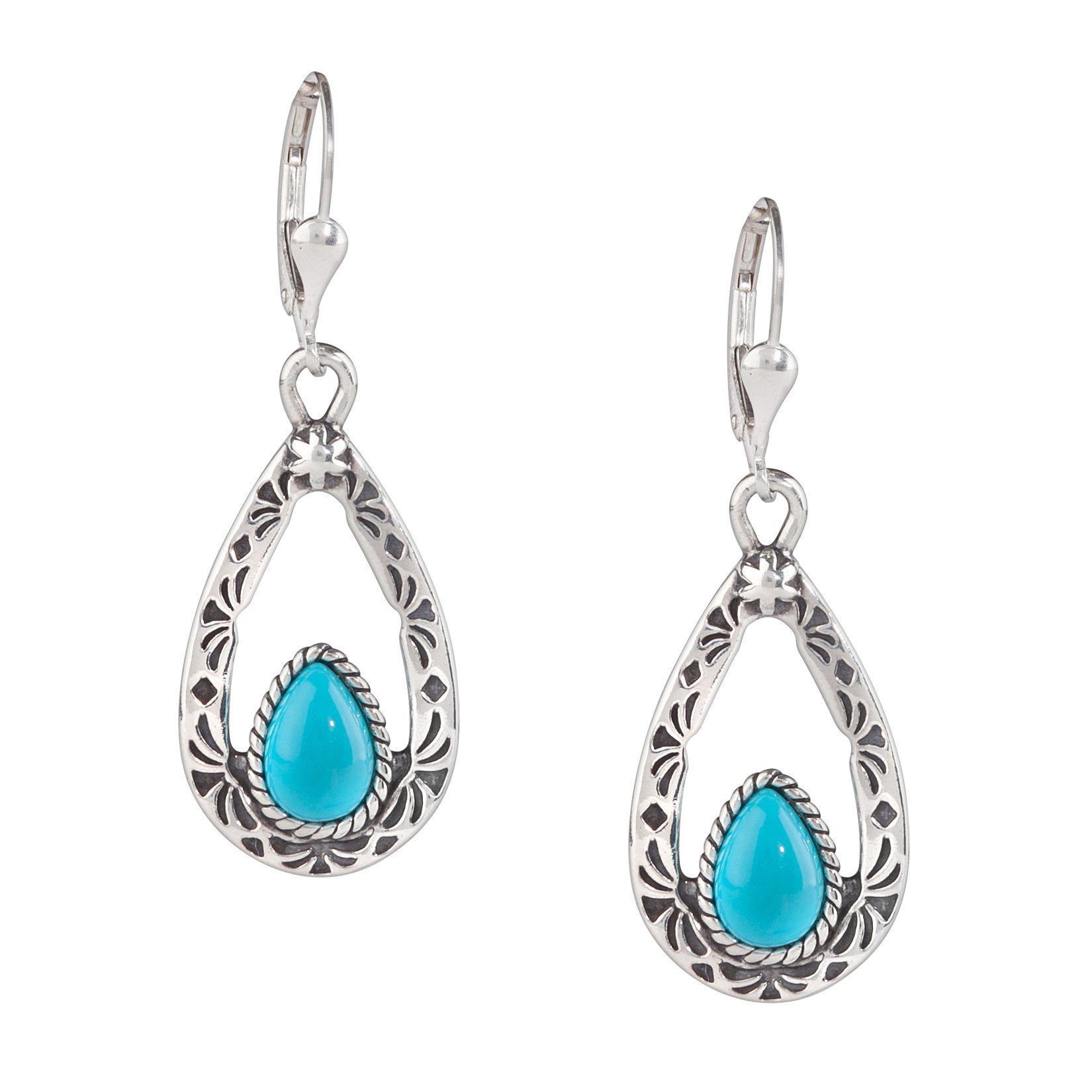 American West Sterling Silver Sleeping Beauty Turquoise Dangle Earrings