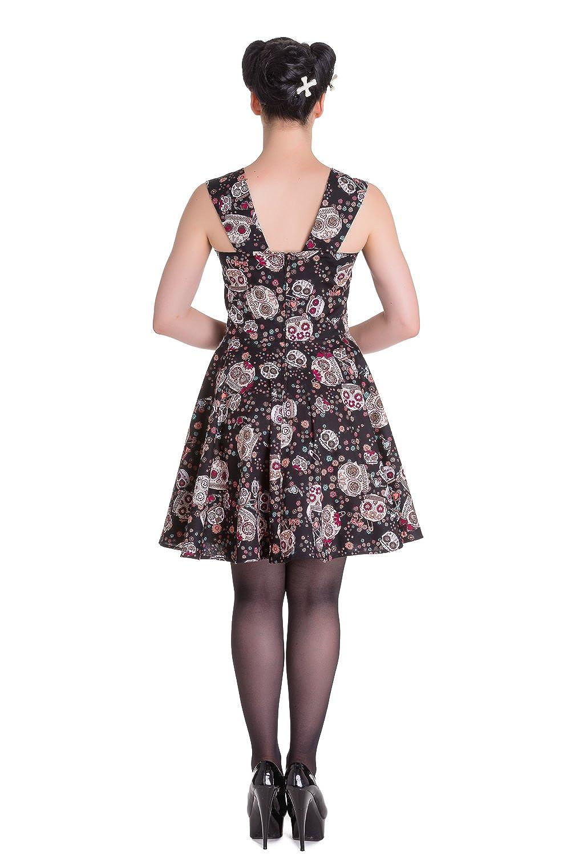 Hell Bunny Calavera Day of The Dead Flower Sugar Skull Black Dress
