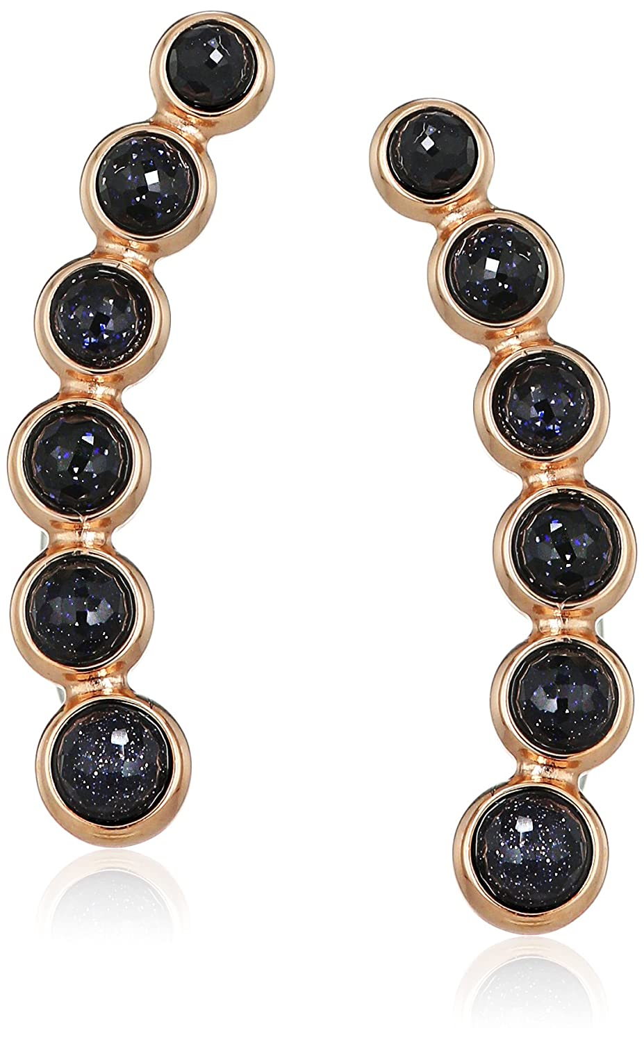 b2f17a8feda Amazon.com: Fossil Shimmer Glass Stone Rose Gold-Tone Earrings: Jewelry