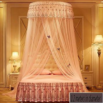 X&M Runde Moskitonetze Luxus Prinzessin Pastorale Spitze Bett Baldachin Net  Krippe Leuchtender Schmetterling (Kuppel