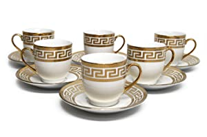 Royalty Porcelain 12pc Miniature Espresso Coffee Set, Six 24K Golden-Plated Cups w/ Saucers, Greek Pattern Bone China Tableware