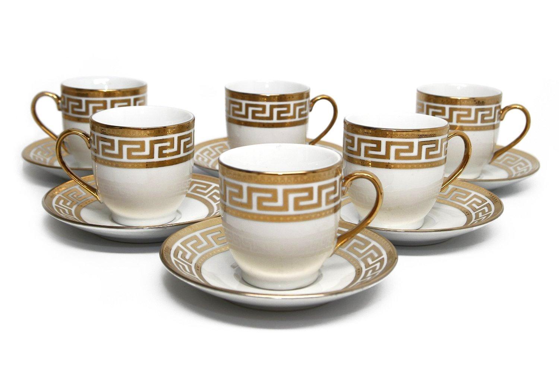 Royalty Porcelain 12pc Miniature Espresso Coffee Set, Six 24K Golden-Plated Cups w/ Saucers, Greek Pattern Bone China Tableware