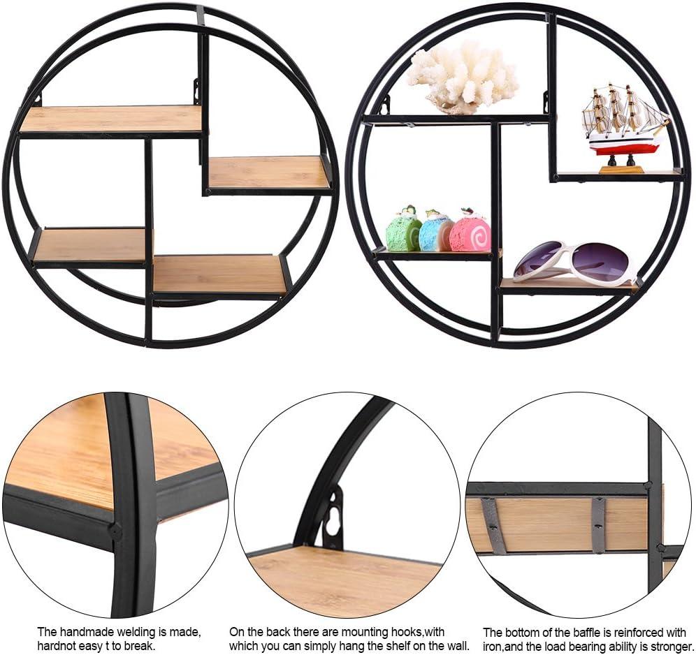 Industrie-Stil Eisen Craft Floating Regal Wand Display Rack Storage Einheit mit Holz Trennwand f/ür Home Office 37/x 37/x 14/cm//37/x 37/x 14/cm rund Zerone rund Wandregal