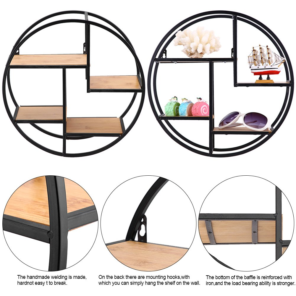 GOTOTOP Multifunctional Wall Shelf-Floating Wall Mounted Shelf Storage Holder Industrial Style Organizer Rack Display Wood Iron Home Decor