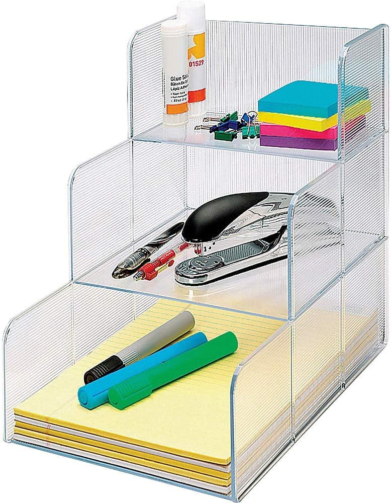 "Sparco Desktop Storage Organizer - 12"" Height x 12"" Width x 9.4"" Depth - 3 Compartment(s) - Clear"