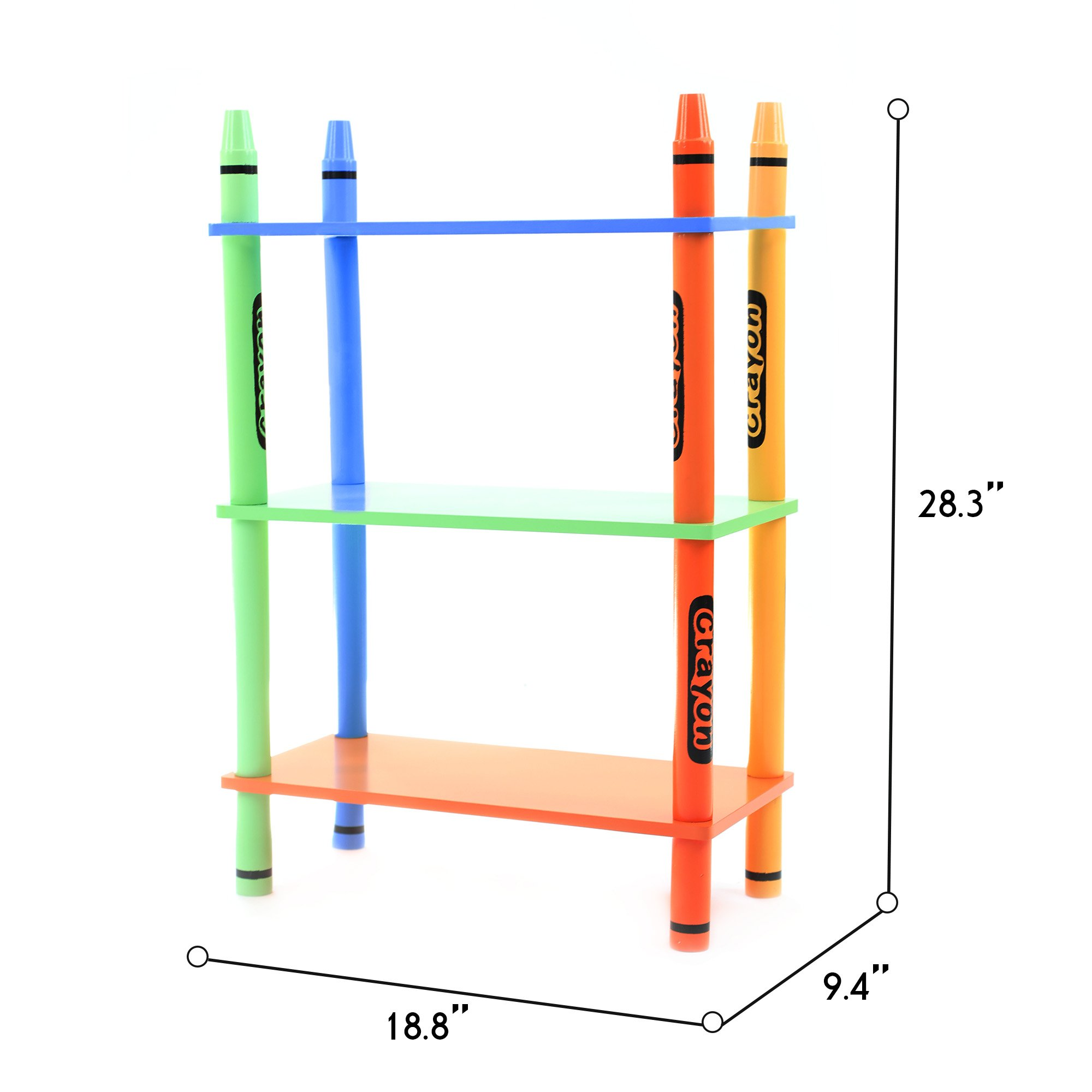 Toddler Size - Bebe Style Kids Wooden 3 Tiered Shelves for Children - Crayon Theme - Colorful, Stylish, and Easy to Assemble Sturdy Material