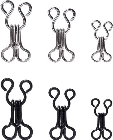 Argent et Noir 50 Set Crochets de Couture et Fermeture des Yeux pour le Soutien-Gorge et les V/êtements 3 Tailles