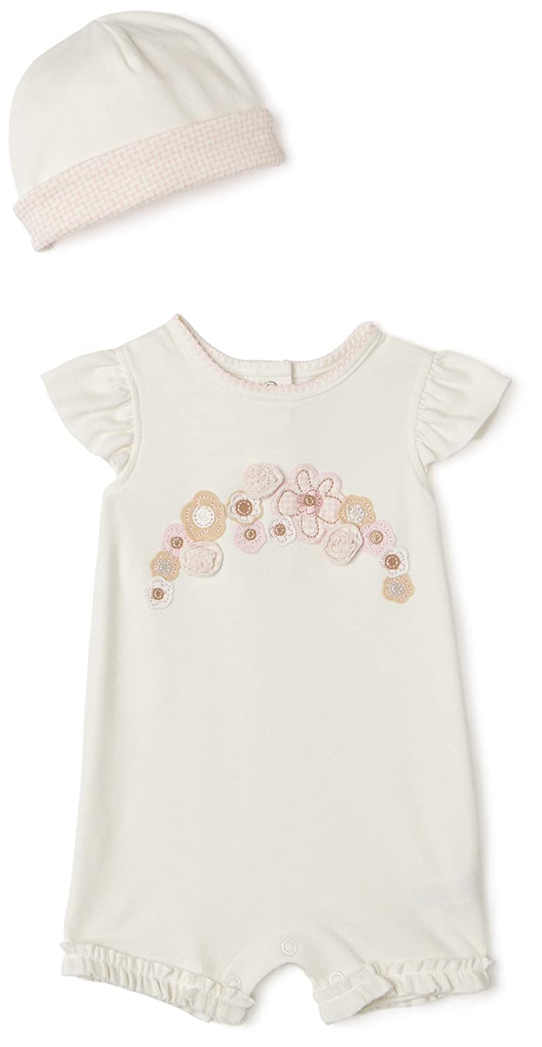 Little Me Floral Mix Organic Romper with Hat White