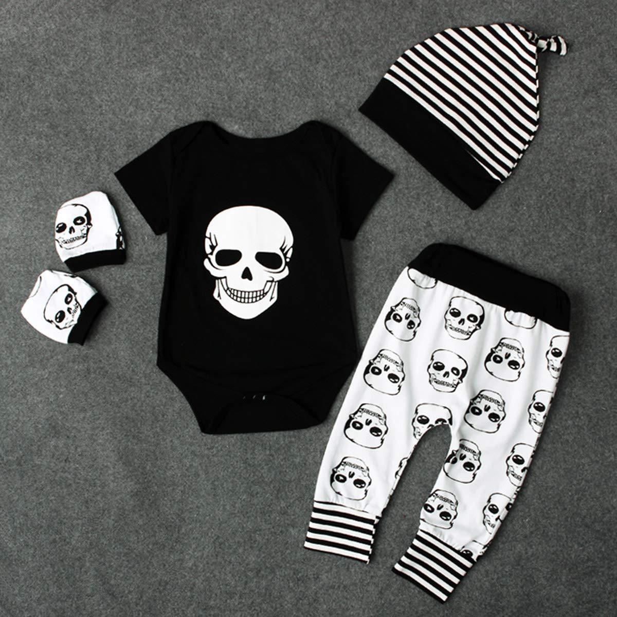Jungen mit Hosen Stramplerset f/ür neugeborene Babys und Handschuh im Totenkopfstil. M/ädchen Hut