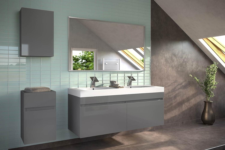 SAM® Badmöbel-Set Parma, 140 cm, in Hochglanz grau, 4tlg. Designer Badezimmer mit Softclose-Funktion, 1 Doppel-Waschplatz, 1 Spiegel, 1 Unterschrank, 1 Hängeschrank