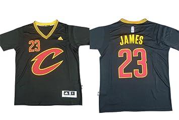 outlet store c3fcc dcad4 Cavaliers 23 LeBron James Black Short Sleeve Swingman Jersey ...