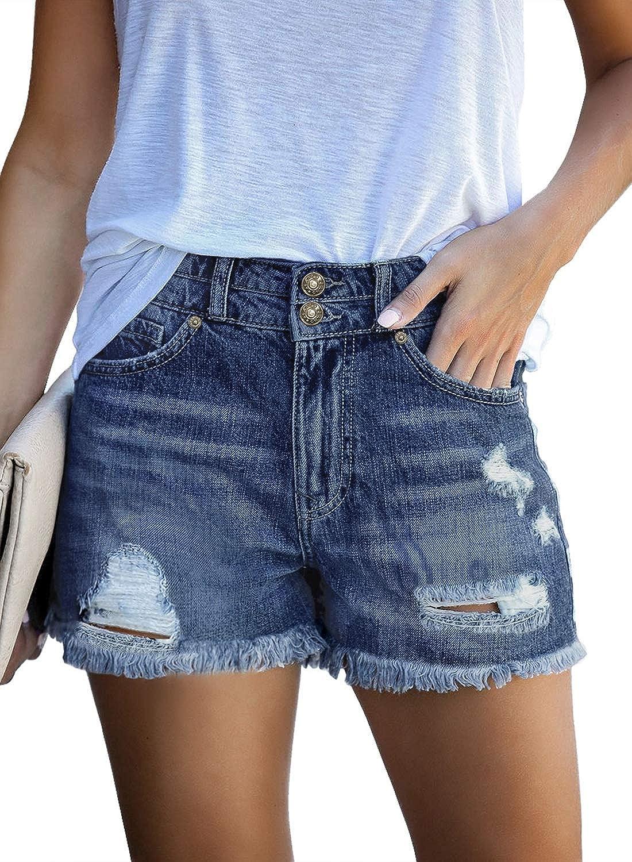 luvamia Womens Casual Denim Shorts Frayed Raw Hem Ripped Jeans Shorts