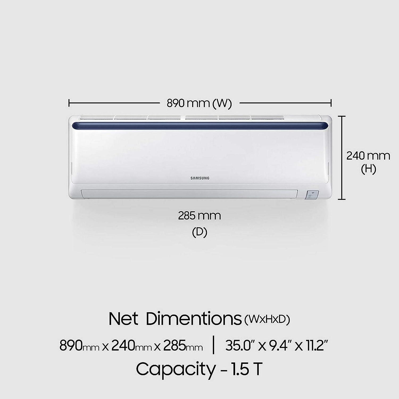Samsung 1.5 Ton 3 Star Inverter Split AC (Alloy AR18NV3JLMCNNA Blue Strip)